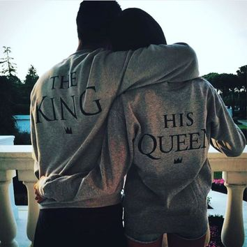 AUGUAU King and Queen Lovers s Sweatshirts