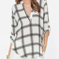 White Black V Neck Plaid Loose Blouse -SheIn(Sheinside)