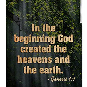Religious Bible Verse Genesis 1:1 Bible Quote Direct-To-Case UV Printed (Not A Sticker) Apple ipod 4 Quality Hard Case Snap On Skin for ipod 4/4G (WHITE)