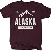 Shirts By Sarah Men's Alaska State Pride T-Shirt Mountains Wonder Tee