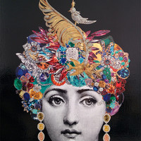 "Fornasetti inspired original decoupage art golden eighties vintage frame jewelry gemstone headpiece golden bird feather""Bejeweled dreams II"""