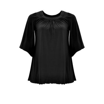 Yoek Shirt A Wrinkle Neck Dolce Black