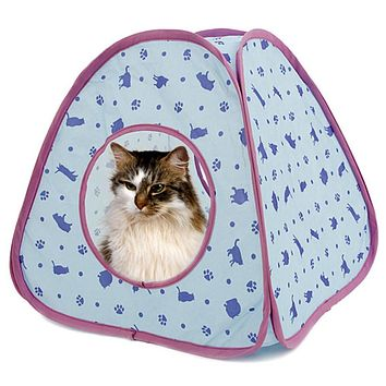 Pawz Road New Lovely Cat Tunnel Pet Toy of Cat Pattern More Fun Blue C