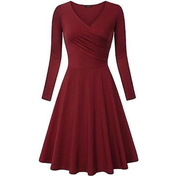 [14985] V Neck Long Sleeves Skater Dress