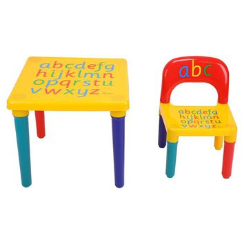 2 piece Plastic Play Toddler DIY Table & Chairs Kids Set