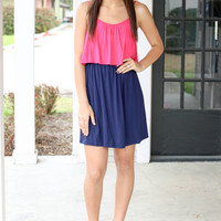 Fair Game Dress - Navy and Pink