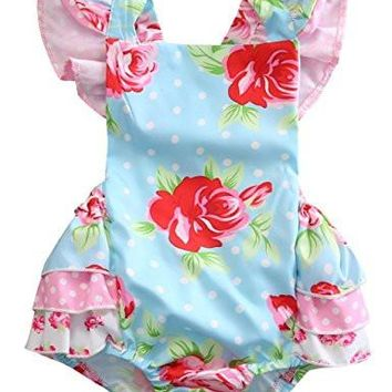 Baby Girls' Full Flower Print Buttons Ruffles Romper Bodysuit with Headband