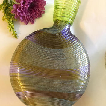 Murano Style Art Glass Vase Vintage Lime Green and Purple Hand Blown Ribbed Spiral Design Flower Container Mid 20th Century Collectible Vase