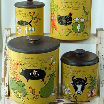 Vintage Tin Kitchen Storage Containers by My3Chicks on Etsy