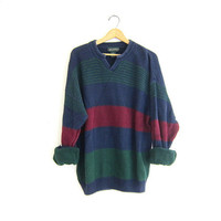 vintage oversized slouchy pullover sweater.boyfriend stripe sweater. size XL