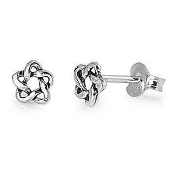 .925 Sterling Silver Celtic Star Ladies and Girls Stud Earrings