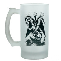 16 oz. Baphomet Frosted Glass Beer Stein Mug Occult Black Metal Glassware