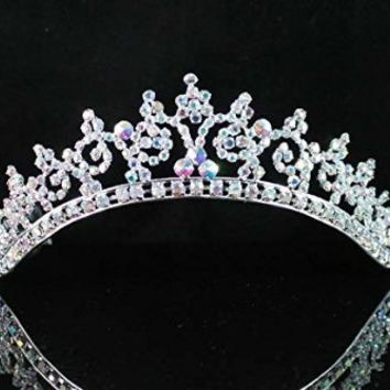 Janfashions Sexy Ab White Austrian Rhinestone Crystal Crown Tiara Combs Bridal Wedding T301a