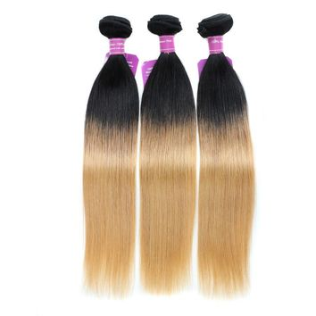 """Beauty On Line Brazilian Straight Hair Weave 18-24"""" Ombre Human Hair Bundles T1B/27 Two Tone Blonde Remy Human Hair Extensions"""