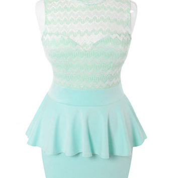 9ce57987ff6dff Plus Size See Through Peplum Sleeveless Mint Dress, Plus Size Clothing,  Club Wear,