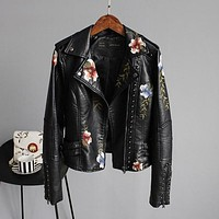 Floral Embroidery Faux Leather Jacket - Black
