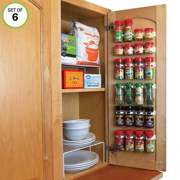 Evelots Spice Organizer-24 Bottle-Strong Hold-Easy Install-No Tool-Set/6 Strip
