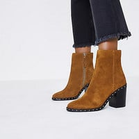 Tan suede studded ankle western boots - Boots - Shoes & Boots - women