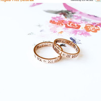 ON SALE Roman Numerals Ring 18K Rose Gold Diamond Band Multifinger Couple Ring Valentine's Wedding Bridal Anniversary Birthday Gift Not Pers