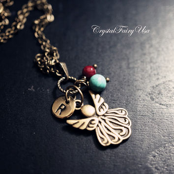 Bronze Angel Necklace Hand Stamped Initial Necklace Turquoise Necklace Ruby Birthstone Necklace Butterfly Necklace  Retro Angel Wing Charm