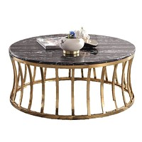Antique  Black Modern Shaped Round Coffee Table
