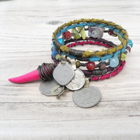 Silk Road Gypsy Bangle Stack, 5 Silk Wrapped Boho Tribal Bracelets, Set with Coin Charms