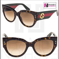 GUCCI GG3864S Red Green Brown Havana Gradient Women Square Sunglasses 3864 Star