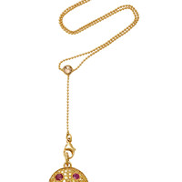 "One-Of-A-Kind Gold Yellow Diamond ""Shake"" Necklace With Antique Yellow Diamond And Ruby Ladybug Back On Y Chain 