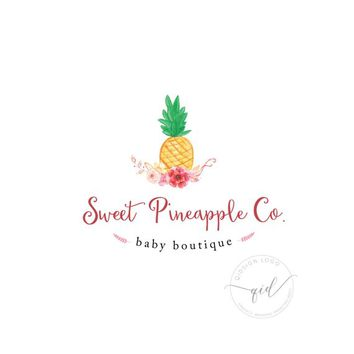 Pineapple logo for tropical business, chic premade pineapple logo, fashion pineapple marketing, summer invitation design logo, baby boutique
