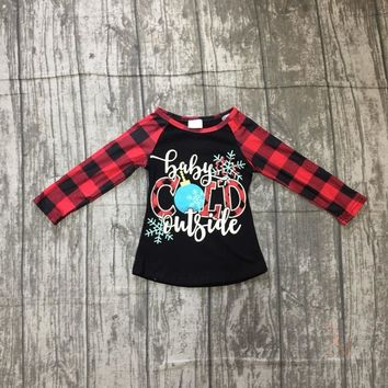 Christmas Fall/winter baby girls children clothes boutique cotton top t-shirts raglans outfits baby cold outside plaid snowflake