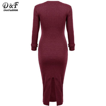 Women Long Sleeve Skinny Round Neck Back Split Slim Pencil Dresses Modest Formal Elegant Cotton Maxi Bodycon Dress