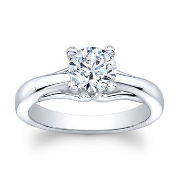 Ladies 18k white gold plain engagement ring solitaire with 1 ct natural Round Brilliant White Sapphire center