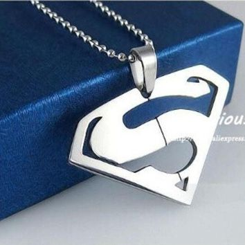DCCKIX3 Superman Pendants Necklaces For Men And Women,High Quality 316L Stainless Steel Jewelry, (Color: Silver) = 1946858116