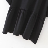 Black Elbow Sleeve Ruffle Hem Top