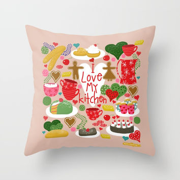 I love my kitchen - Kitchen funnies Throw Pillow by Krusidull Illustrations