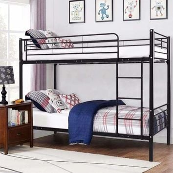 Metal Twin Over Twin Bunk Bed with Ladder