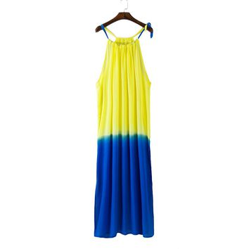 Vestidos Brazil Style Summer Sexy Women Chiffon Loose Maxi Sundress Perspective Sleeveless Beach Long Dress