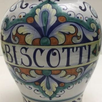Deruta Biscotti Vase Hand-Painted Signed Italian Multi-Color Ceramic Pottery