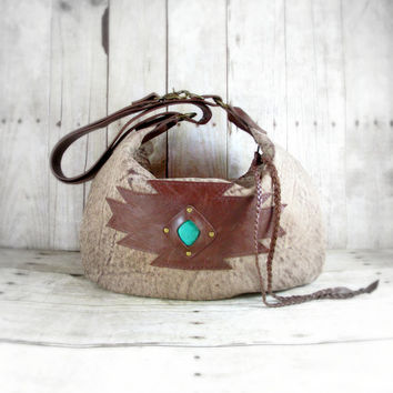 Leather Handbag, Southwestern Bag, Leather Hobo, Brown Leather bag, Aztec Bag, Leather Cross Body, Hobo Purse, Turquoise Colored Stone