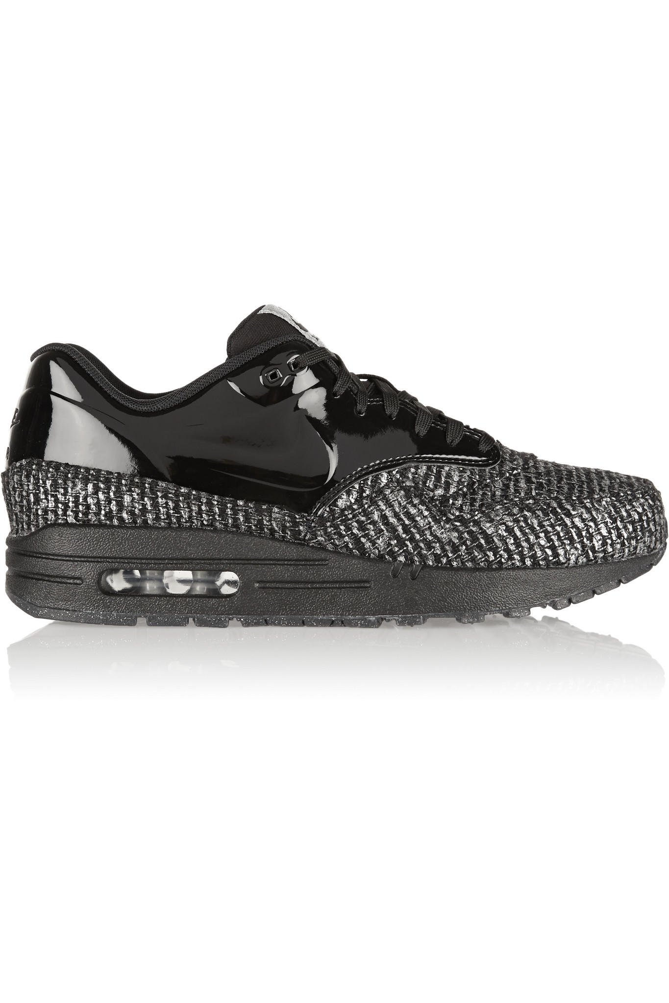 Nike - Air Max 1 metallic bouclé and patent-leather sneakers 3d7420d90