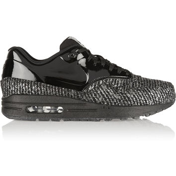 Nike - Air Max 1 metallic bouclé and patent-leather sneakers