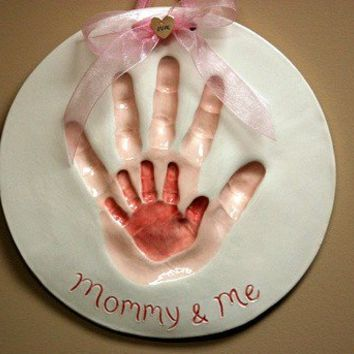 Hand prints of Mommy and me by Dprintsclayful on Etsy