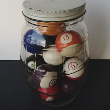 Vintage Pool Balls in Vintage Jar - Billard Balls - Pool Balls Jar Fillers - Vintage Decor Game Room Set