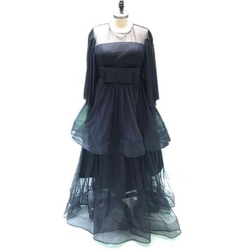 Black Tulle Bow Party Dress O-neck Long Sleeve Evening Gown