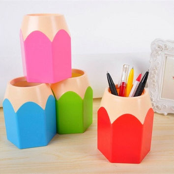 Popular Creative Pen Vase Pencil Pot Makeup Brush Holder Stationery Desk Tidy New Design Container Gift  # K-FAITH TRADE CO.,LIMITED # [8070932743]