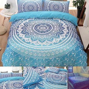 Bohemian Style Blue Mandala Flower Comforter Duvet Cover and Pillow Covers Queen Size and King Size Bedding Set Home Living
