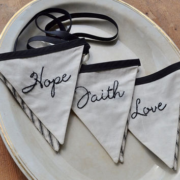 Faith Hope Love Bunting - Banner - Pennant Flags - Garland - Wedding Decoration - Christian - Religious - Black Ticking