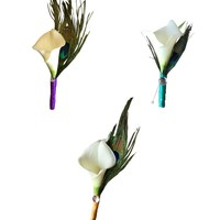 Calla lily Boutonneire-Real touch Calla lily(Latex Artificial flower) with peacock accents-PICK RIBBON COLOR