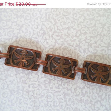 ON SALE Copper link bracelet/vintage aztec copper bracelet/boho jewelry/Native American/Aztec bracelet
