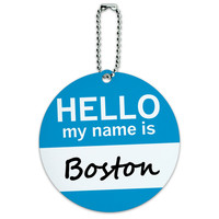 Boston Hello My Name Is Round ID Card Luggage Tag